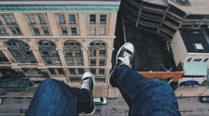 Legs dangling in 1st person point of view