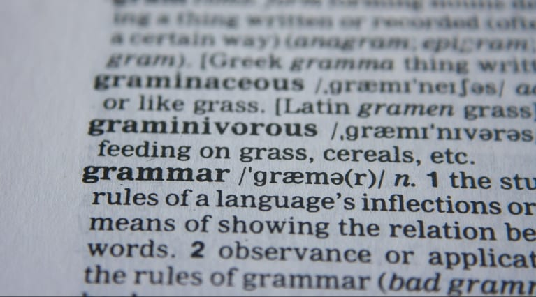 Picture of the word grammar in the dictionary - English grammar, check grammar