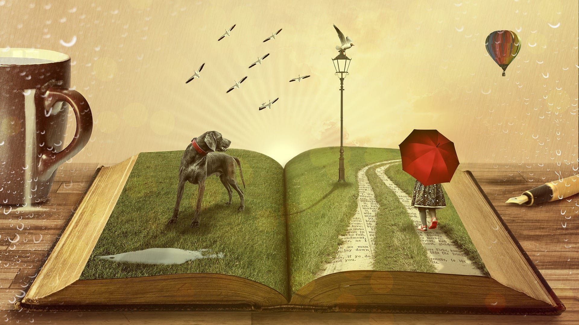 Magical scene emerging from a book