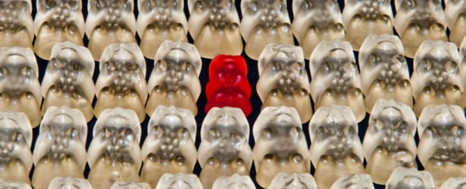 Gummy bear standing out amongst the rest - how to write a book synopsis