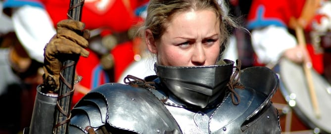 Woman in historical armor, ready for battle