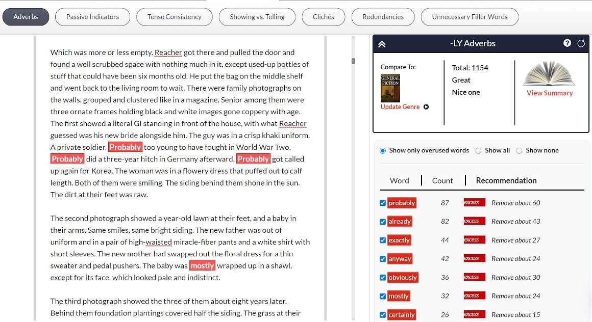 Blue Moon - Adverbs manuscript sample with sidebar