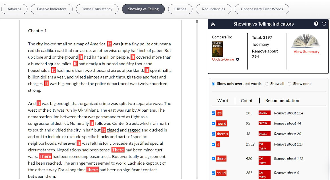 Blue Moon - Showing vs telling sidebar sample with highlights in manuscript